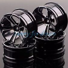 Aluminum 5 Spoke Wheels/Rims 1053 RC 1/10 BLACK On-Road Drift Sakura HSP Tamiya