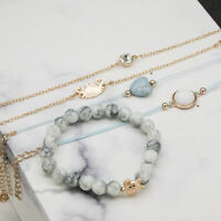 Weave Rope Beaded Beads Crystal Stone Heart Crab Bracelets Jewelry Gifts LE