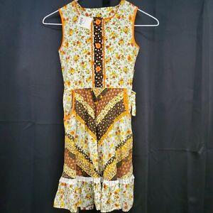 Girls Vtg Sleeveless Dress Sz 6 Button Bodice Floral Print Pockets Cottage Core