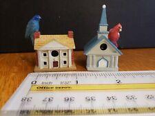2 Lenox Garden Birdhouse/Bird House Miniatures~Indigo Bunting~Cardinal on Church