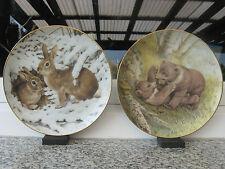 2 ASSIETTES DE COLLECTION PORCELAINE Décor OURS et LAPINS 19 cm