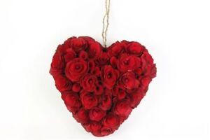 4X Beautfiul Colgante Madera Chip Corazones - Boda, San Valentín Romántico Gesto