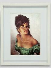 Tina in Green Dress J H Lynch Tretchikoff Era - Vintage Kitsch Framed Art Print