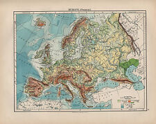 1900 VICTORIAN MAP ~ EUROPE PHYSICAL LAND HEIGHTS SEA DEPTHS