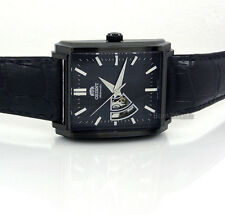 ORIENT MEN JAPAN MADE AUTOMATIC BLACK PVD STEEL 36mm X 46mm LEATHER FDBAD001B0