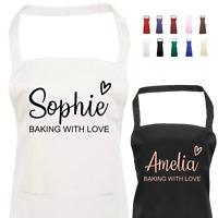 Personalised Apron with Name Saying 'Baking With Love' and Heart with 2 Pockets