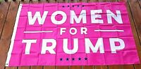 "Pink ""Women For Trump"" 3' X 5' Flag. New, Sealed, Polyester"