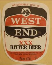 OLD AUSTRALIAN BEER LABEL, SA BREWING Co WEST END BITTER BEER 740ml