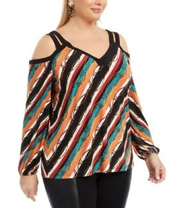 INC International Concepts Women's Plus Size Printed Cold-Shoulder Top Red 2X