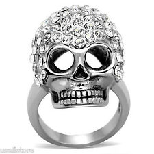 Crystal Pave Skull Head Silver Stainless Steel Unisex Ring
