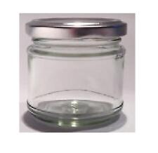 100 X small 1 oz MINI GLASS Jam JARS SILVER LIDS WEDDING FAVOURS HAMPERS 28g 30