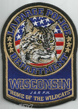 "Lafarge, WI  ""Home of Wildcats""  (3.75"" x 5"" size)  shoulder police patch (fire)"