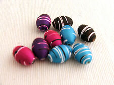 20 x Rubberized satin acrylic beads - drawbench ROUNDED oval 20x13mm