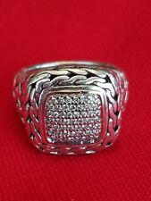 John Hardy Pave Diamond Ring Sterling Silver .25ctw 925 18k express shipping