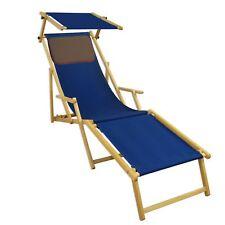 Lit Soleil Bleu Transat pour Jardin Hêtre Toit Ouvrant Coussin 10-307 N S Kd