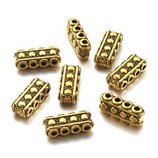 20 Tibetan Alloy Bar Metal Beads Rectangle Loose Spacer 4-Hole Antique Gold 17mm