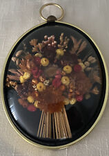 Vintage Dried Flowers Wall Art Domed Bubble Glass Brass Numbered Cideart Belgium