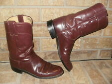 Justin Roper Boots / Burgundy Leather Lady 7.5 M/ Style L3068 Nice