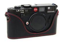 Leather Half Case for Leica M6, M7, MP, M3  (Black Fine Grain with Red Stitch)