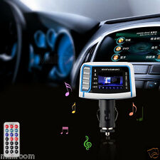 "1.44"" LCD Wireless FM Transmitter Auto MP3 Player TF Card USB Drive Remote DE"