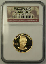 2008-W Elizabeth Monroe First Spouse 1/2 Oz 9999 Gold $10 Coin NGC PF-69 (JAB)