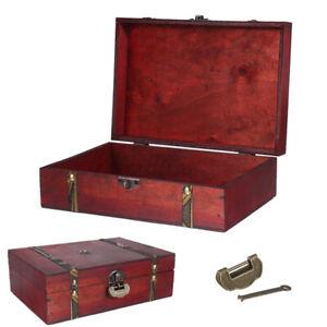 Wooden Vintage Treasure Chest Wood Jewellery Ring Storage Box Case Organise