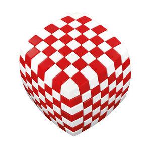 V-Cube 7 x 7 - Illusion - rot/weiß - Zauberwürfel