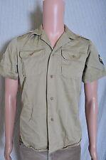 VTG Vietnam Era Men's Khaki summer SS shirt Enlisted Specialist 4 patches XS