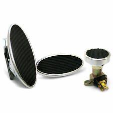 Oval Floor Mount Gas Pedal, Sm Oval Brake Pad and Dimmer Pad Chromed Billet