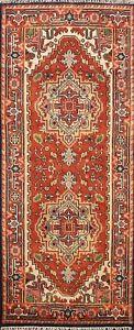 Hand-knotted Geometric Indo Heriz Oriental Runner Rug Classic Wool Carpet 3'x6'