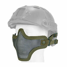 Mesh Half Face Helmet Mask Airsoft Paintball Protective Tactical Gear OD Green