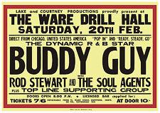 "23"" x 16"" 1965 Rod Stewart Buddy Guy Concert Poster UK"