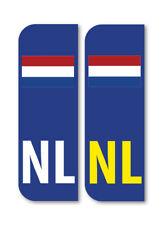 2 x NL FLAG NETHERLANDS Car Number Plate vinyl stickers