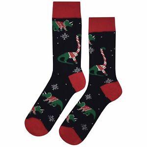 NWT Dino Christmas Sweater Dress Socks Novelty Men 8-12 Black Fun Sockfly