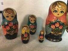 """VINTAGE Wood Hand Carved Russian Nesting Dolls Matryoshka 5 Pieces, 6.5"""" Tall"""