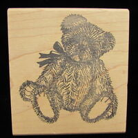 "Judikins Fuzzy Cute Teddy Bear Bow Rubber Stamp 2.75"" x 3"""