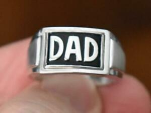 MEN'S REVERSIBLE FLIP FACE DAD / DIAMOND ACCENTS STERLING SILVER RING SIZE 10