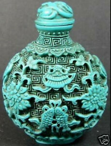 Rare hand synthesis carved turquoise fish lotus snuff bottle