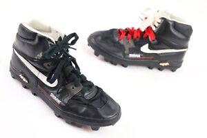 Nike Vtg 1980's Shark Football Cleats Shoes Men's Sz 9.5 - Black / White