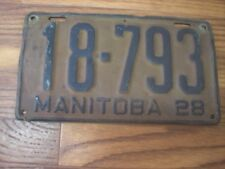 1928 Manitoba Canada 90 year old License Plate 18-793