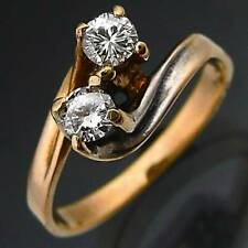 Entwined Bypass Diamond 14k Solid Yellow GOLD Friendship / Lovers RING Sz Q