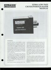 Altec Lansing 15594A Low Pass Crossover/EQ Module Owner's Instruction Manual