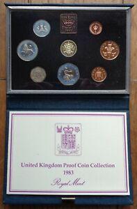 1983 Royal Mint Proof Coin Set Box and COA