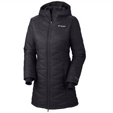 NWT COLUMBIA WOMENS MIGHTY MORNING LIGHT HOOD LONG JACKET 1X BLACK OMNIHEAT LITE