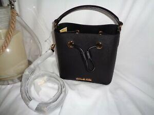 Michael Kors Suri Small Bucket Crossbody Mini Handbag Black Leather