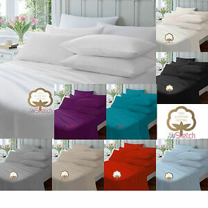 100% Egyptian Cotton Deep Fitted Sheet 40CM Single Double King Super King,YAW