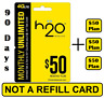 H2O Wireless $50 Plan - 90 DAYS - ($150 VALUE) - Unlt'd Talk,Text, 15GB LTE+Call