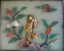Antique Chinese Qing Jade box w/ Applie Bone figure, Coral, Abalone, other Gems