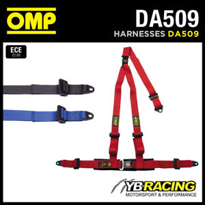 "DA509 OMP 'STRADA 3' ROAD HARNESS 3-POINT 2"" STRAPS BOLT-IN - RED or BLACK"