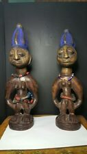 Yoruba Ibeji Twin Figures Carved Wood Statues -20th Century Nigeria